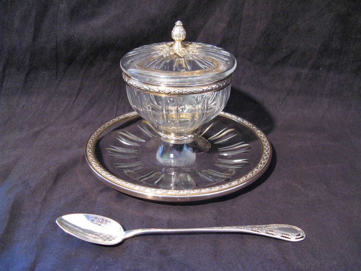 Coupe à caviar cristal et argent poinçon minerve début XX