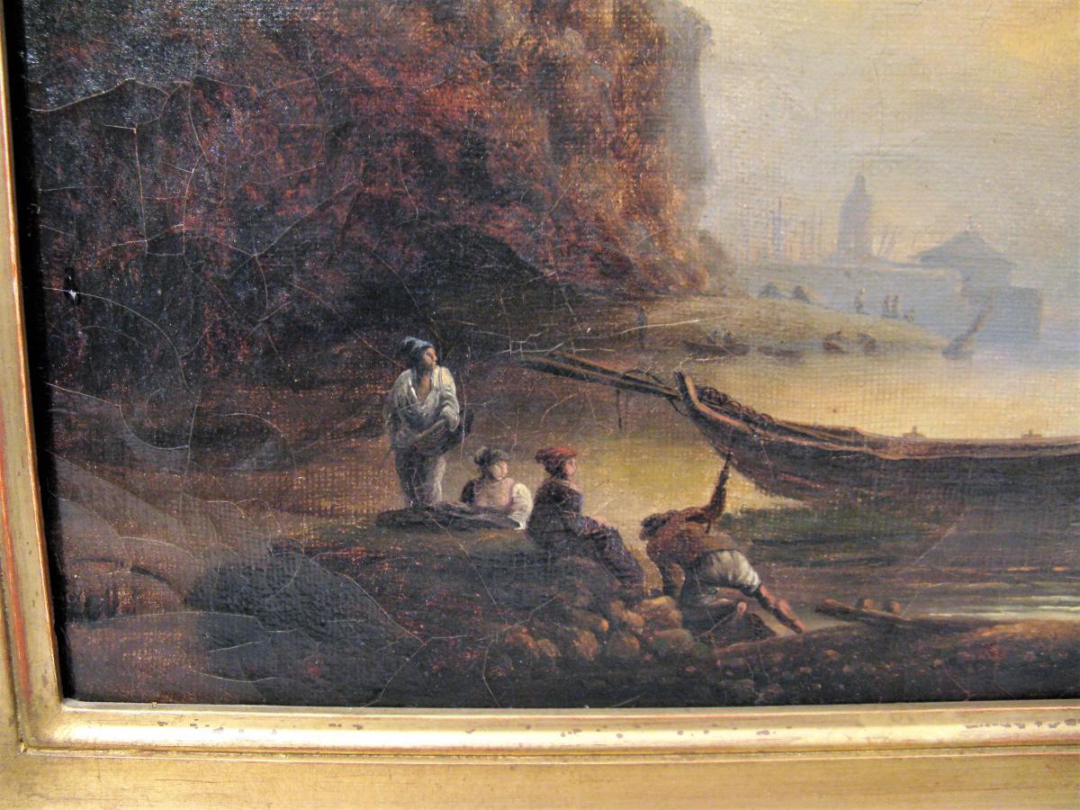 Tableau marine scène de port début XIX ème siècle-photo-3