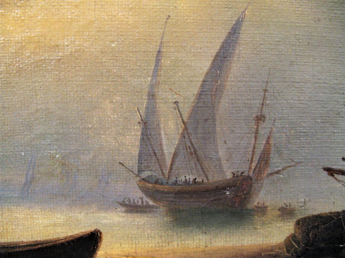 Tableau marine scène de port début XIX ème siècle-photo-2