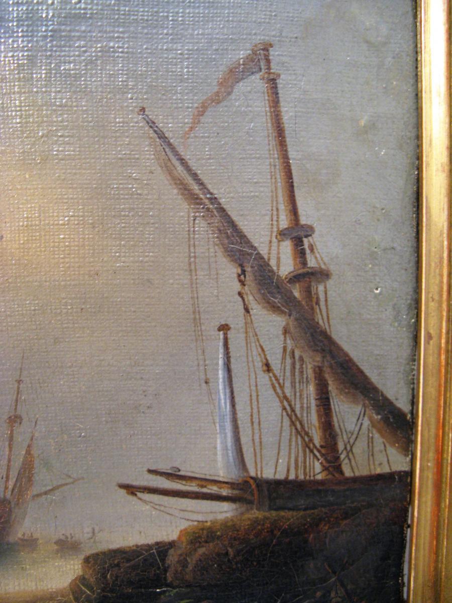 Tableau marine scène de port début XIX ème siècle-photo-4