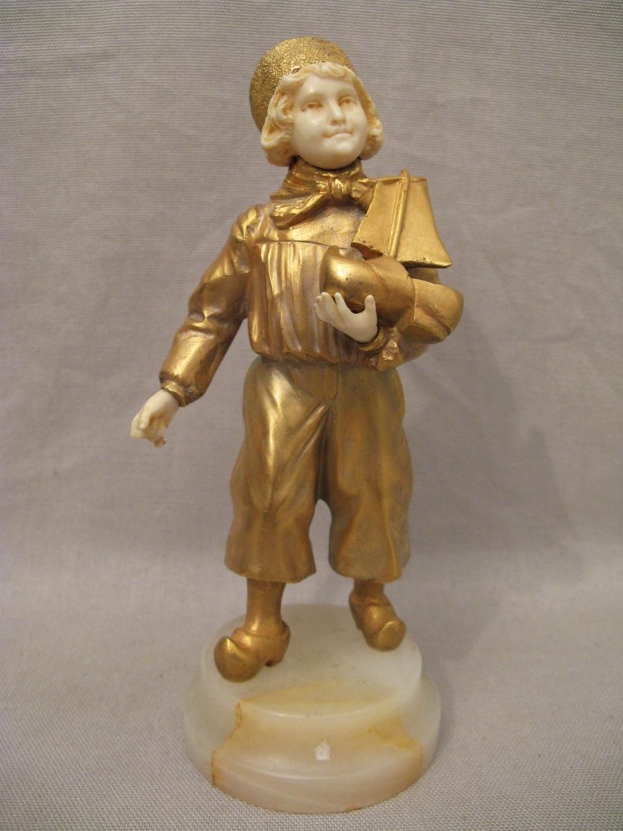 Bronze Chryselephantine Child At The Boat Art Deco Period