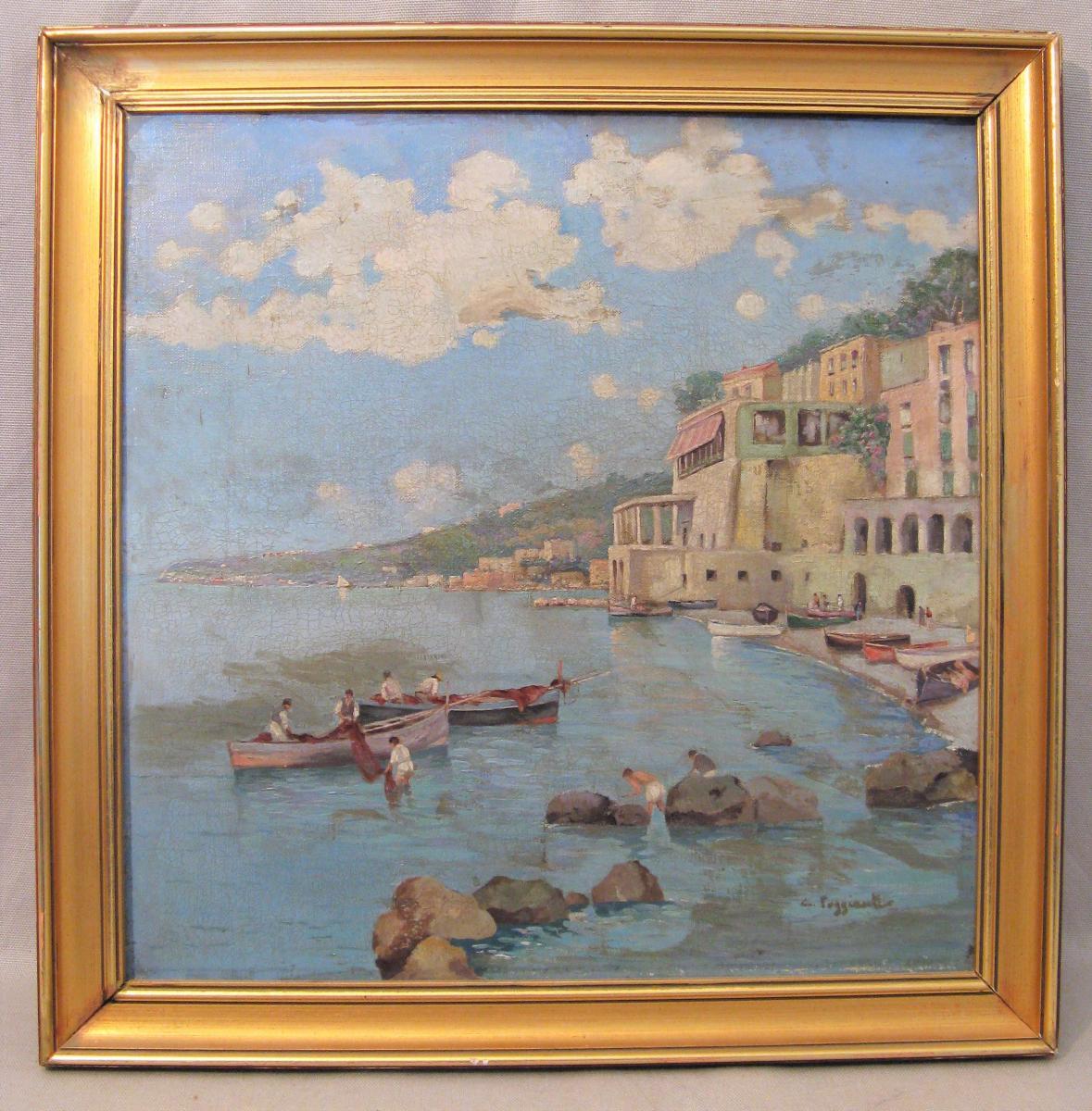 Oil On Canvas Signed C. Poggianti The Almafitaine Coast In