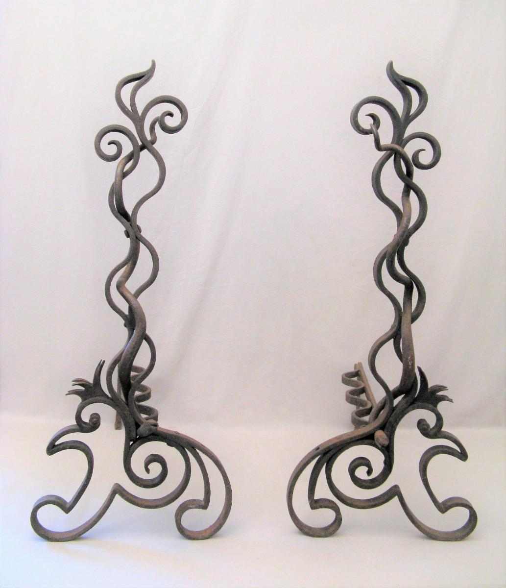 Pair Of Wrought Iron Andirons Art Nouveau Period In