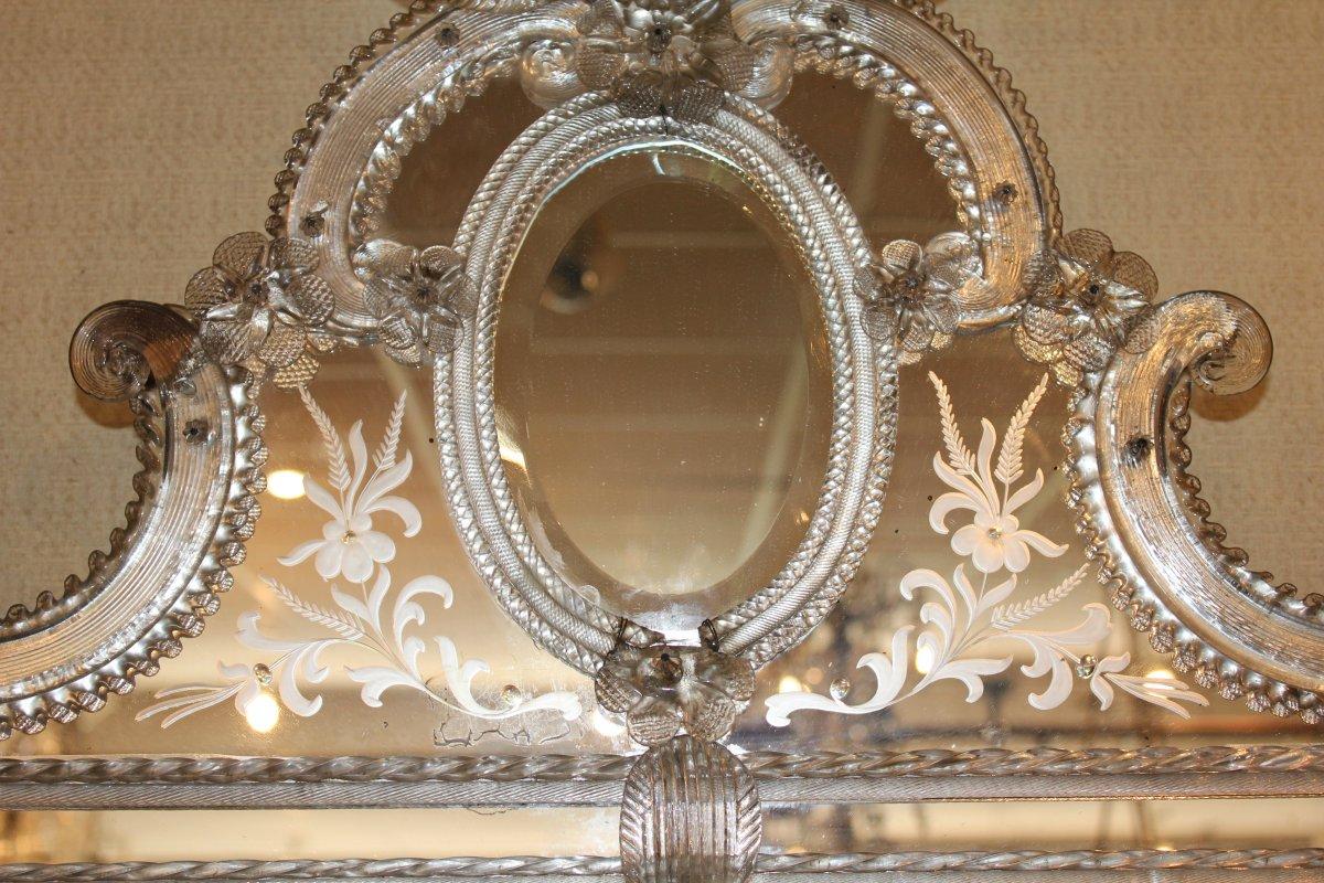 Grand miroir de Venise à parecloses époque milieu XX ème siècle-photo-1