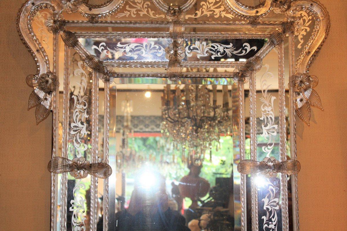 Grand miroir de Venise à parecloses époque milieu XX ème siècle-photo-2