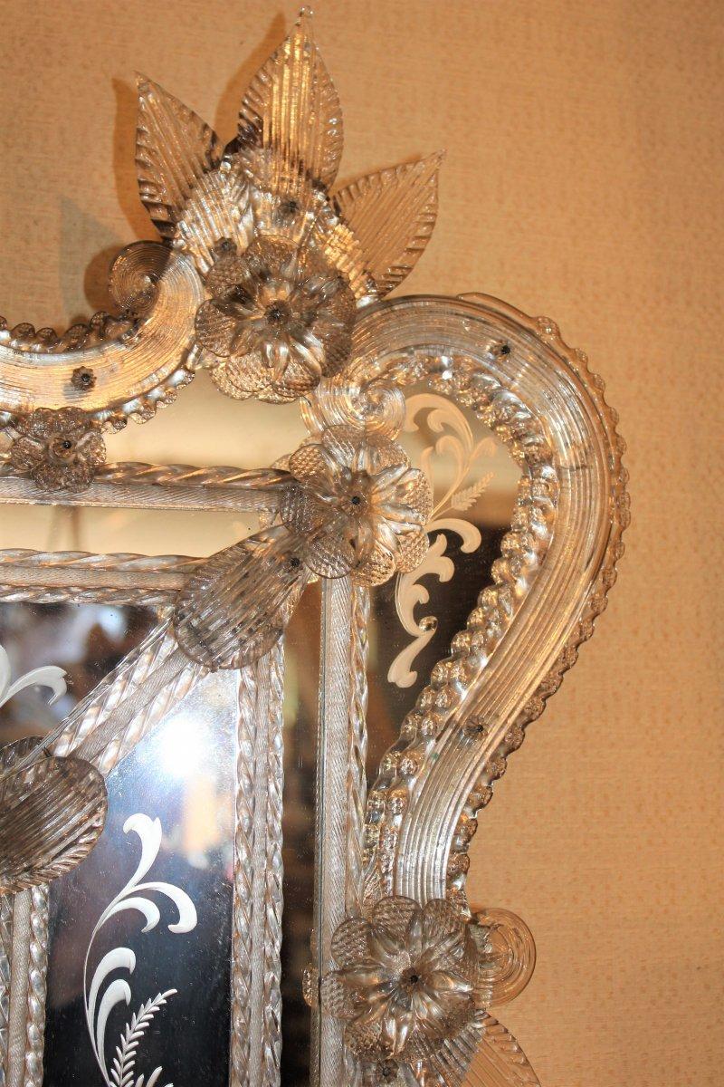 Grand miroir de Venise à parecloses époque milieu XX ème siècle-photo-3