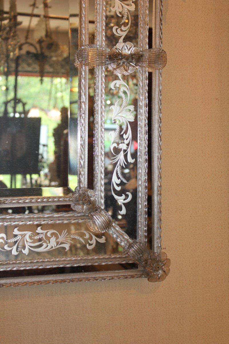 Grand miroir de Venise à parecloses époque milieu XX ème siècle-photo-5