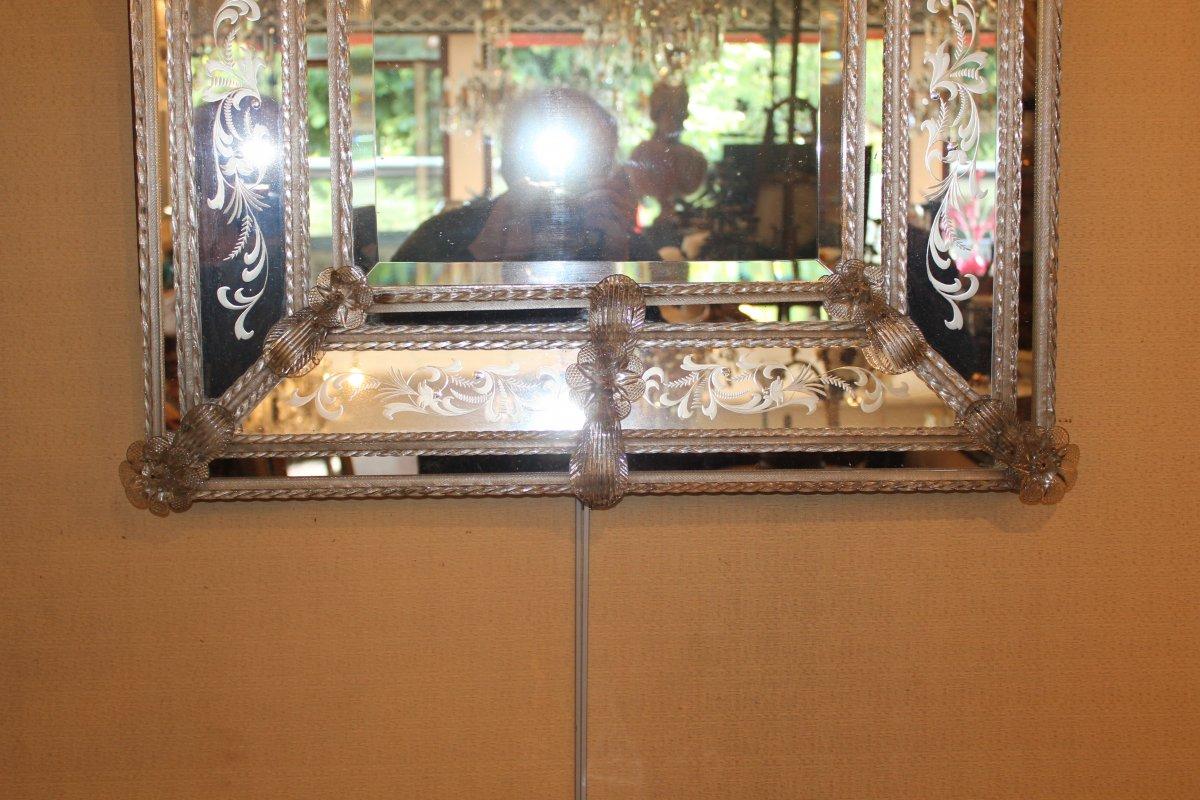 Grand miroir de Venise à parecloses époque milieu XX ème siècle-photo-6