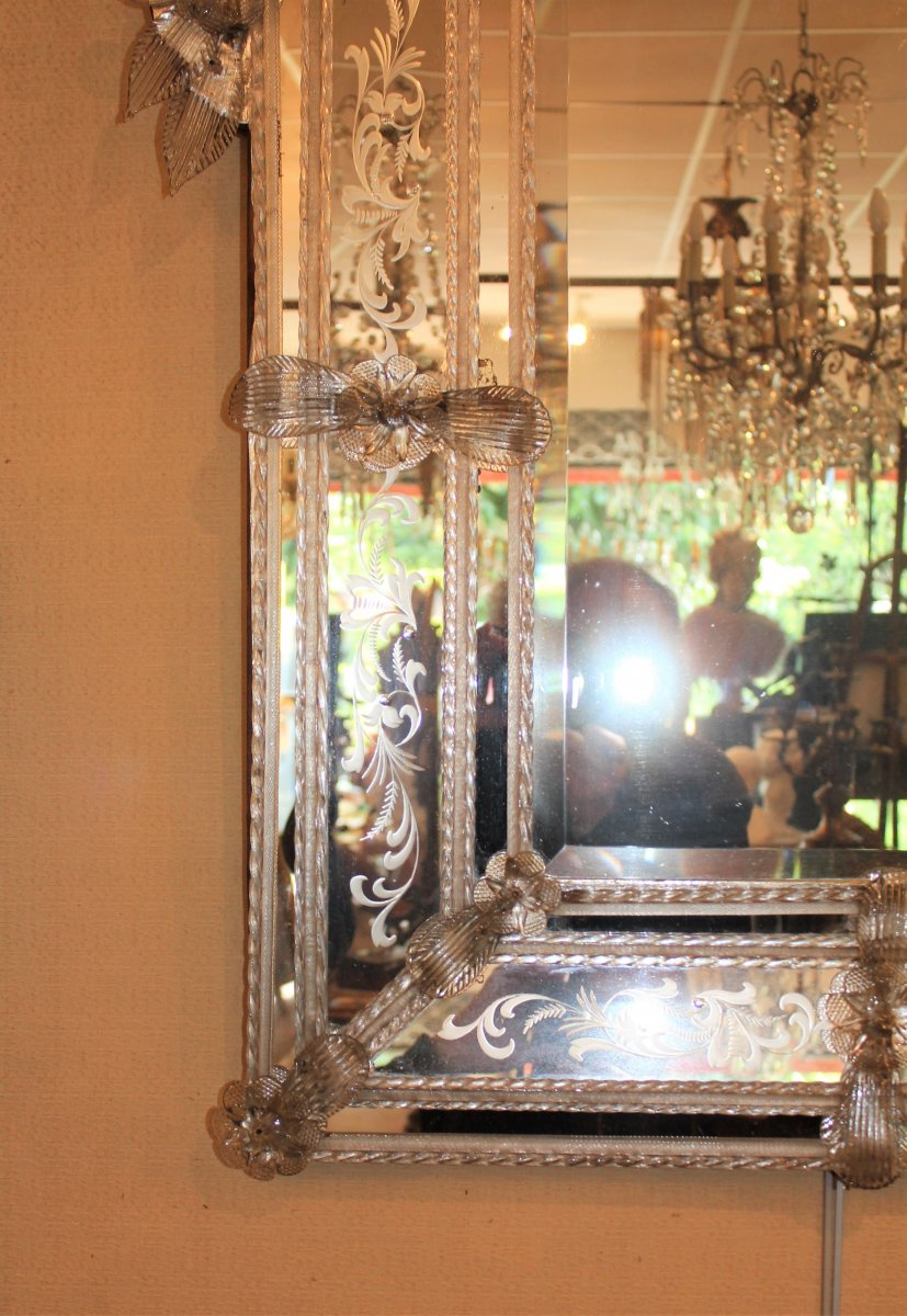 Grand miroir de Venise à parecloses époque milieu XX ème siècle-photo-7