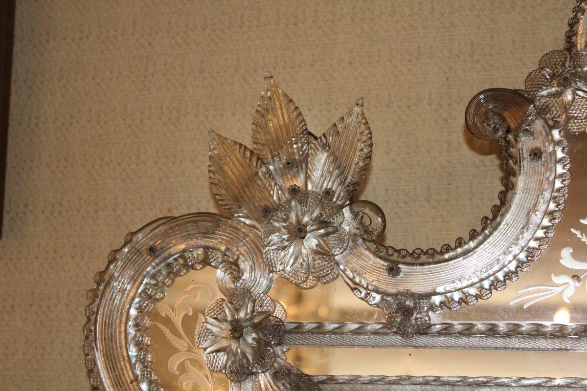 Grand miroir de Venise à parecloses époque milieu XX ème siècle-photo-8