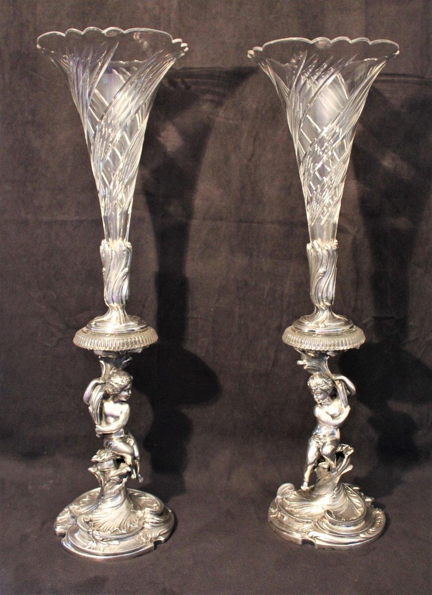 Grande paire de soliflores aux puttis cristal et bronze argenté de Victor Saglier XIX siècle