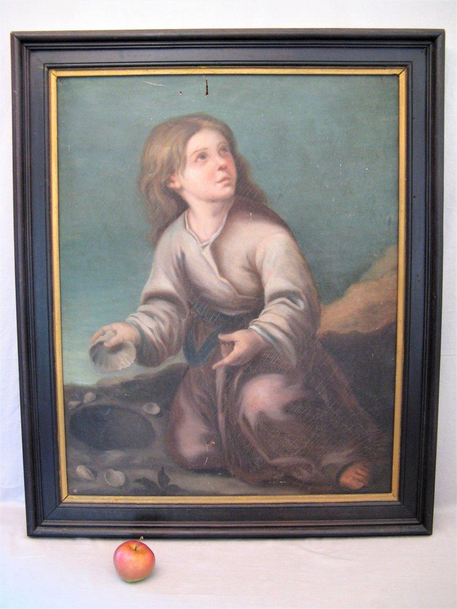 """Tableau huile sur toile époque XIX siècle """" petite fille aux coquillages """""""