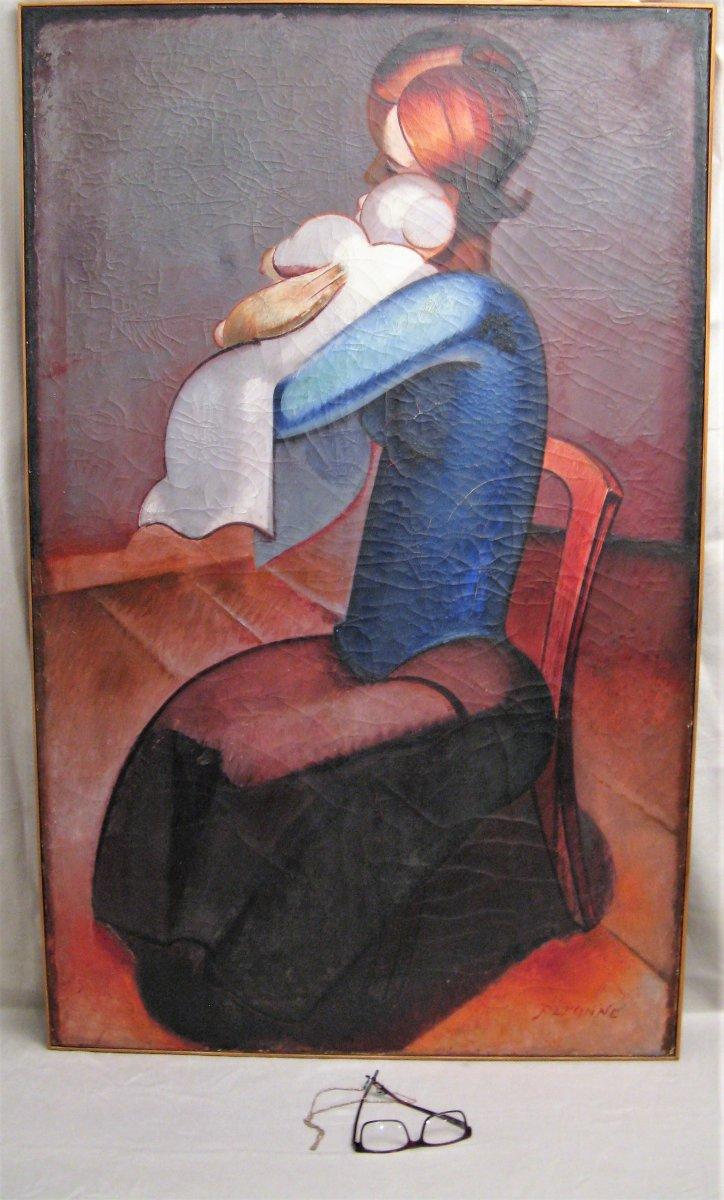 """Grand tableau huile sur toile  signé Louis Peronne """" la maternité """" XX ème siècle"""