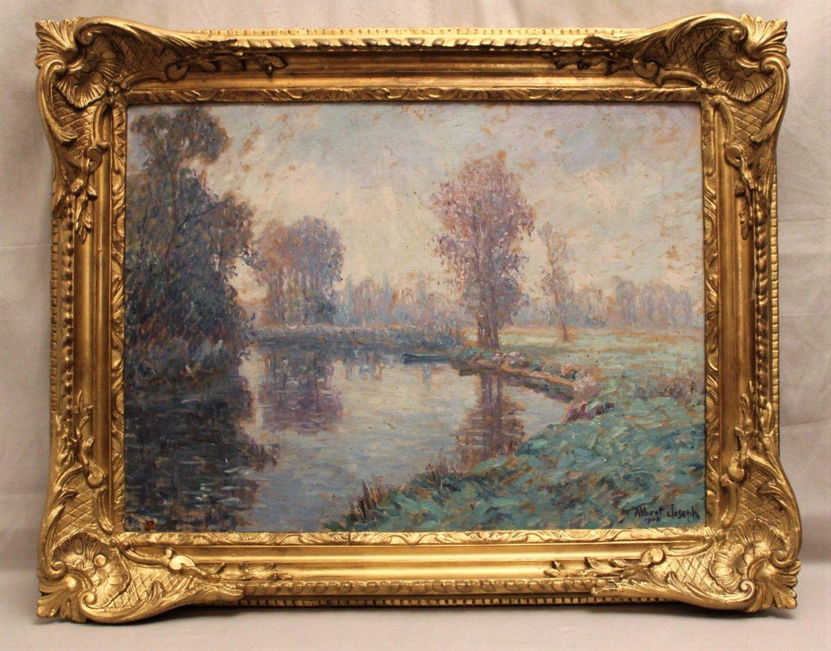 Tableau huile sur toile signé Albert Joseph : bord de rivière daté 1906