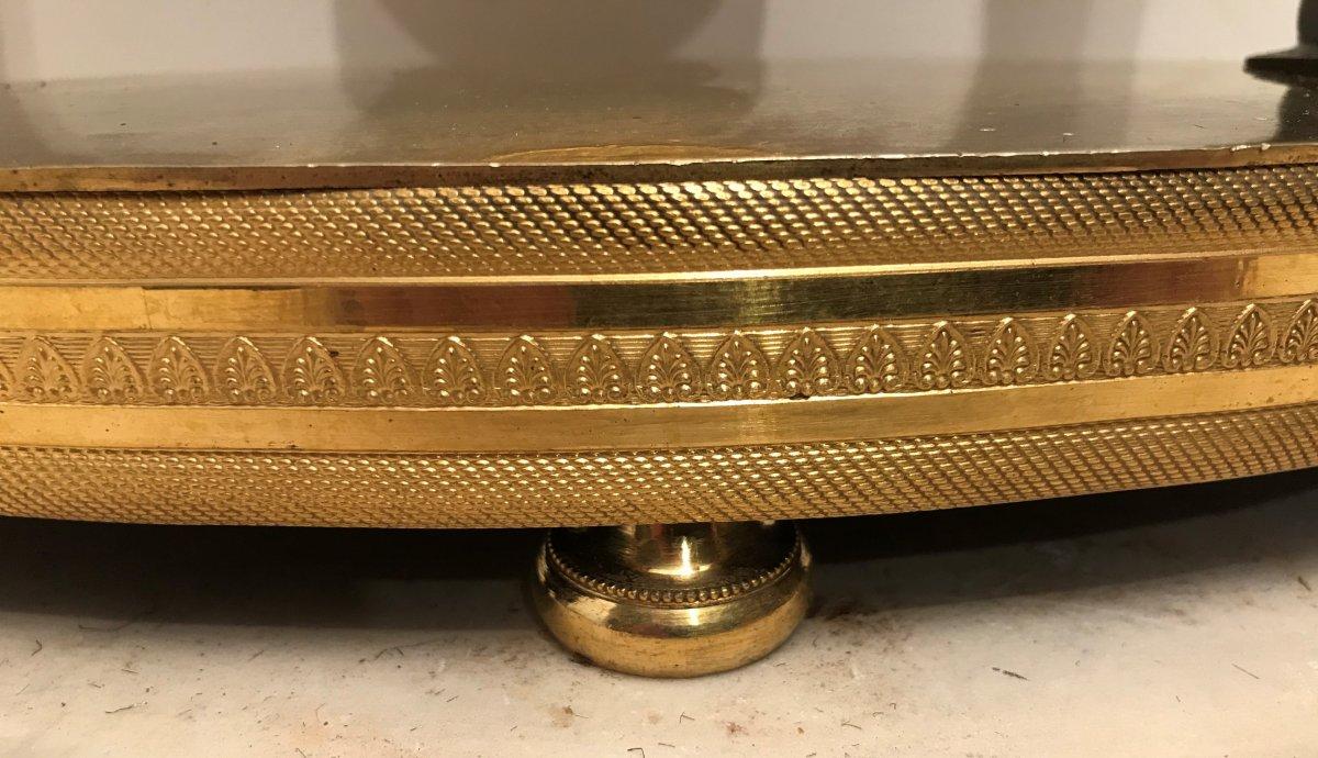 Pendule portique aux Egyptiennes en bronze doré époque Empire-photo-2