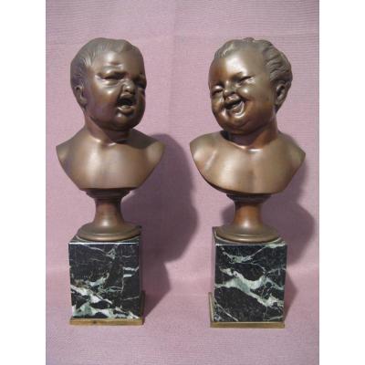 Bronzes Jean qui rit et Jean qui pleure époque XIX ème siècle