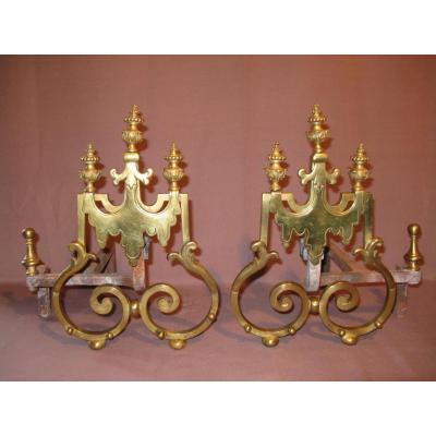 Paire de chenets en bronze époque XIX ème siècle
