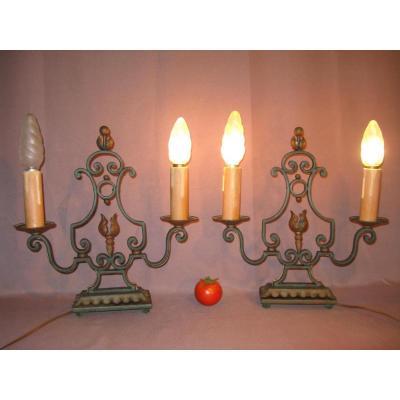 Paire de candélabres fer forgé