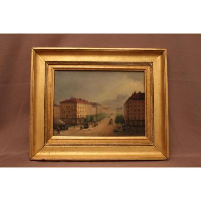Tableau scène de rue Lyon époque XIX ème siècle