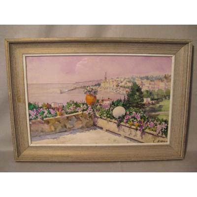Aquarelle signée E.Malezin : terrasse fleurie époque XX ème