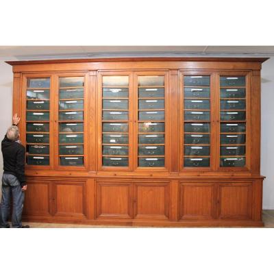 Importante bibliothèque cartonnier chêne massif