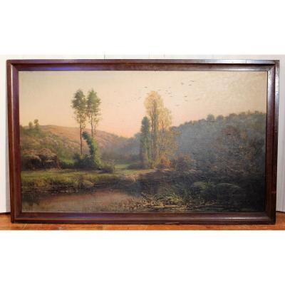 Grand tableau paysage signé Amable Louis Pinta XIX