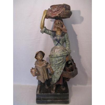 Sculpture Napolitaine terre cuite polychrome XIX