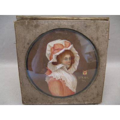 Miniature XVIII siècle portrait de lady Anglaise