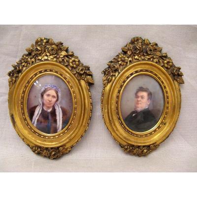 Deux miniatures sur ivoire cadres bronze famille Romanet XIX