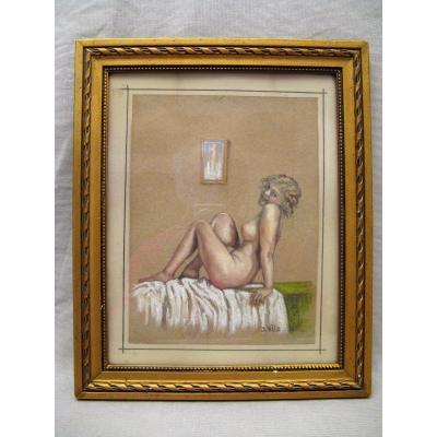 Dessin nu féminin époque Art Déco signé D. Ville