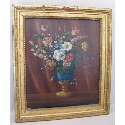 Tableau huile sur toile bouquet de fleurs XIX siècle