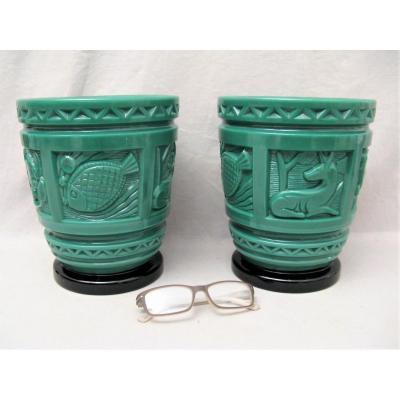 Paire de caches pots en verre M.Model Verdun Art Déco