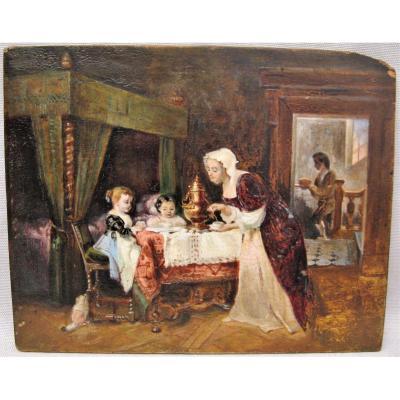 """Tableau huile sur panneau milieu XIX """" Le thé des enfants """""""