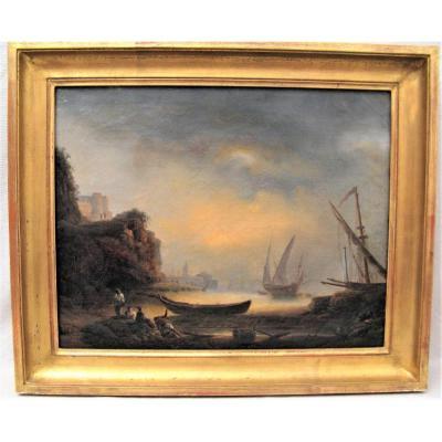 Tableau marine scène de port début XIX ème siècle