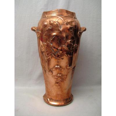 Vase époque art nouveau Gustave de Bruyn en galvanoplastie de cuivre