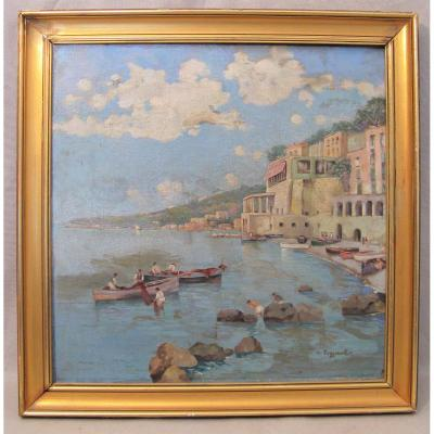 Huile sur toile signée C. Poggianti la côte Almafitaine en Italie début XX siècle