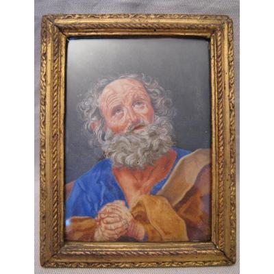 Tableau gouache époque XVII ou XVIII siècle Saint Pierre