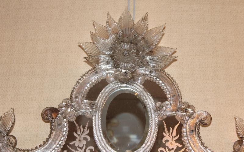 Grand miroir de Venise à parecloses époque milieu XX ème siècle-photo-4