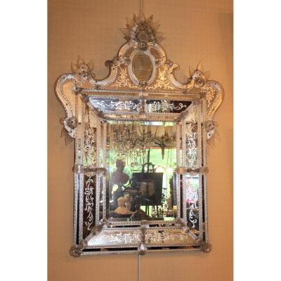 Grand miroir de Venise à parecloses époque milieu XX ème siècle