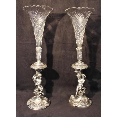Large Pair Of Soliflores With Crystal And Silver Bronze Putti From Victor Saglier XIX Century