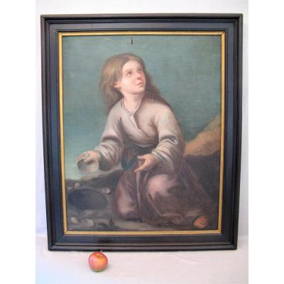 "Oil Painting On Canvas XIX Century ""little Girl With Shells"""
