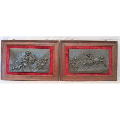 Two Bas Reliefs In Bronze Signed Alfred Borrel: The Loves Nineteenth Century