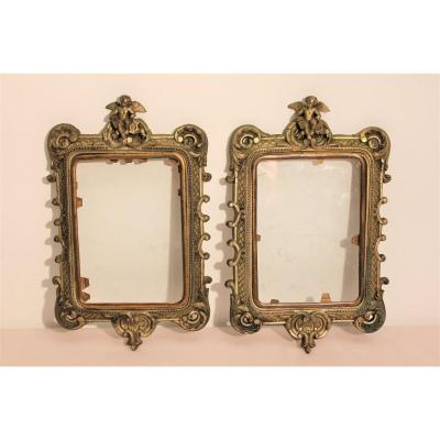 Pair Of Small Bronze Frames Decorated With Angels XIXth Century