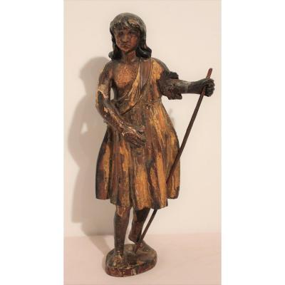 Sculpture en bois polychrome époque XVII ème siècle : le berger ( crèche )