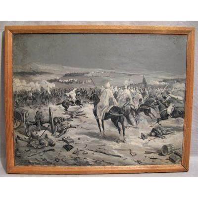 Tableau signé Fernando Mota guerre Napoléonienne contre l'empire arabe début XX ème siècle