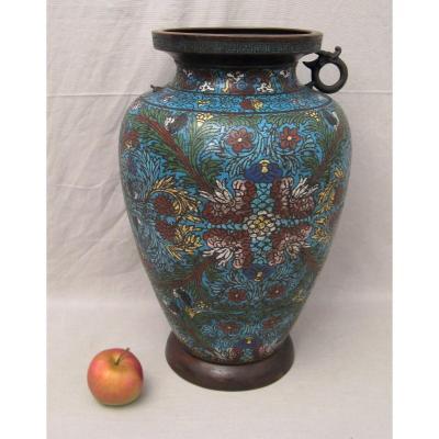 Grand vase en bronze émaillé Chine époque XIX ème siècle
