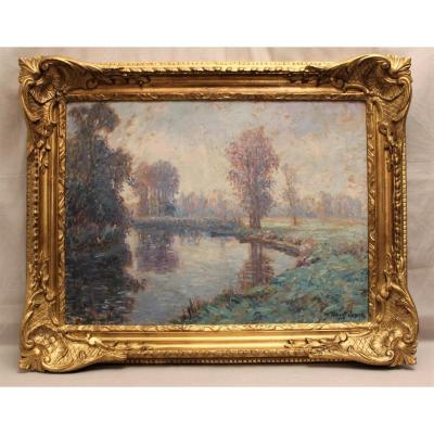 Oil Painting On Canvas Signed Albert Joseph: Riverside Dated 1906