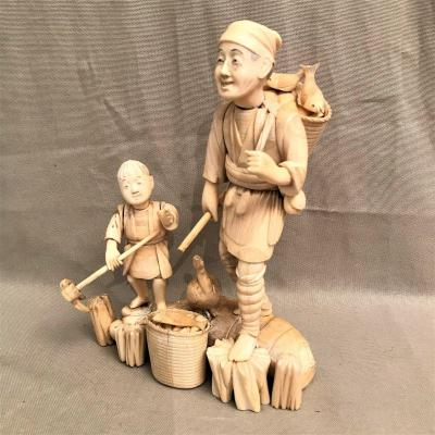 Ivory Sculpture Fishermen XIXth Century