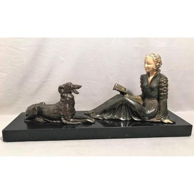 Large Elegant Art Deco Sculpture With A Greyhound