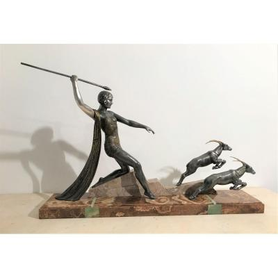 Art Deco Sculpture Diane The Huntress Signed J.dauvergne